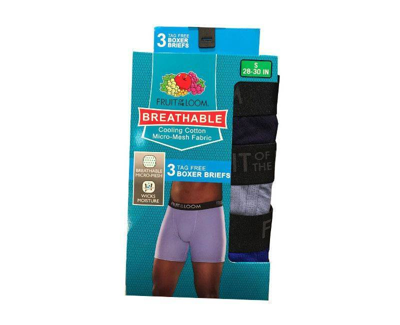 Fruit of the loom breathable cooling cotton micro mesh fabric boxer briefs in size S