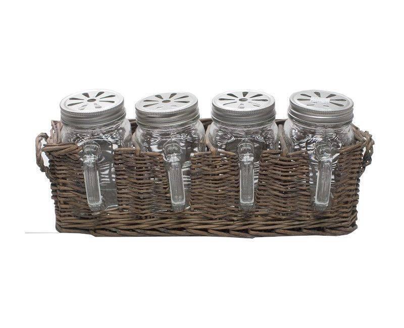 4 Piece Glass Mason Jar Set with Basket