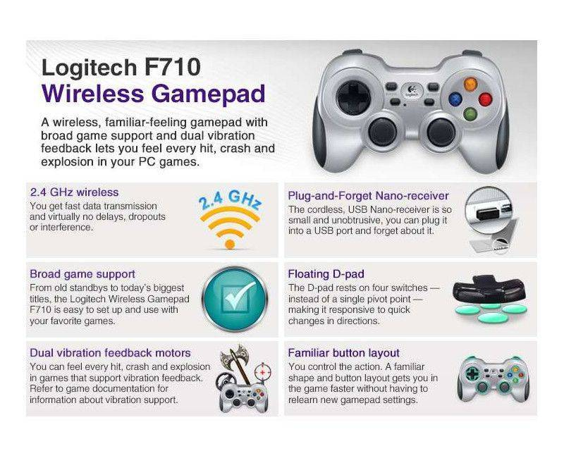 Logitech Wireless Gamepad F710 - Gamepad - wireless