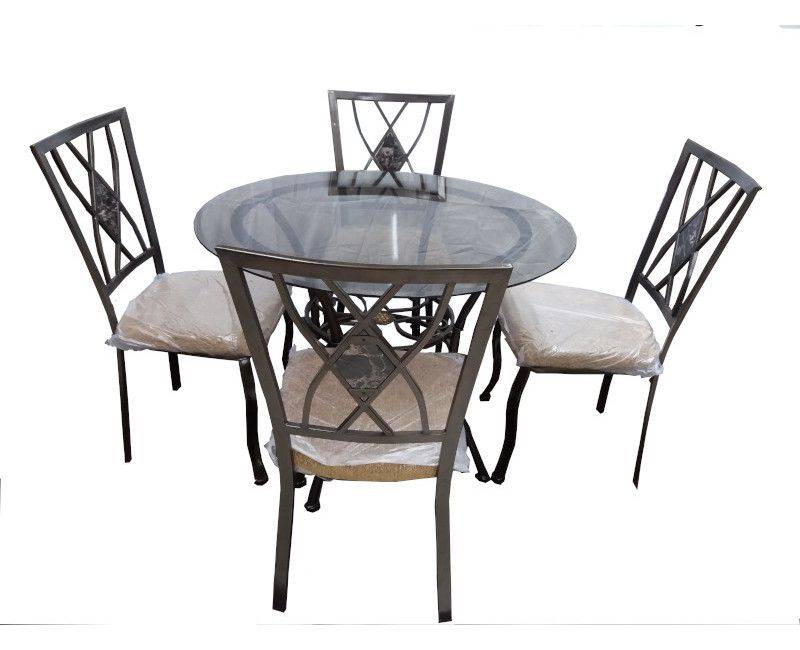 5 Piece Round Glass Top Dining Table Set
