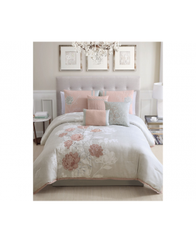 6 Piece Hallmart Brissa Full Queen Comforter Set Embroidered Floral