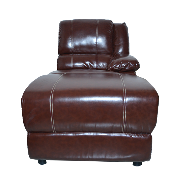 7 Piece Leatherette Sectional - Brown Front View