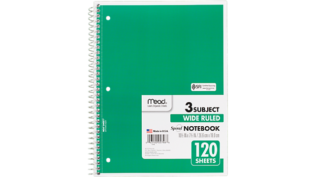 Mead Spiral 3 Subject Notebook