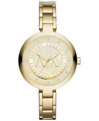 Armani Exchange Gold-Tone Crystal Dial Ladies Watch AX4224