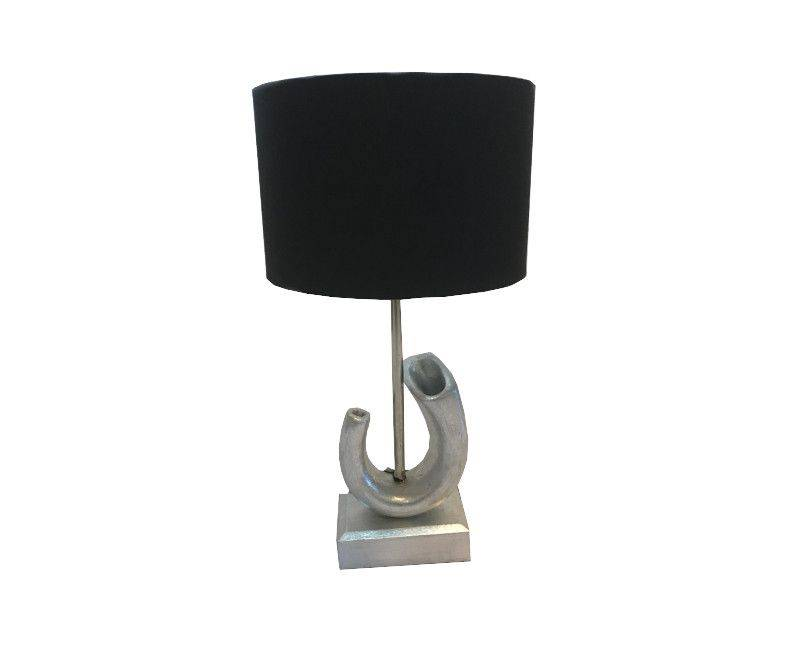 Terracotta Table Lamp - Brushed Silver Base with Black Shade