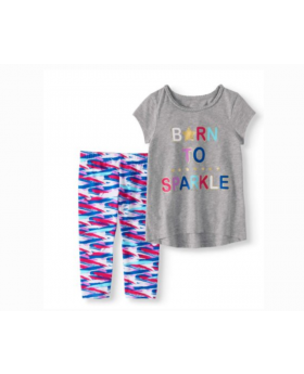 """Born To Sparkle"" Shirt & Tights Set"