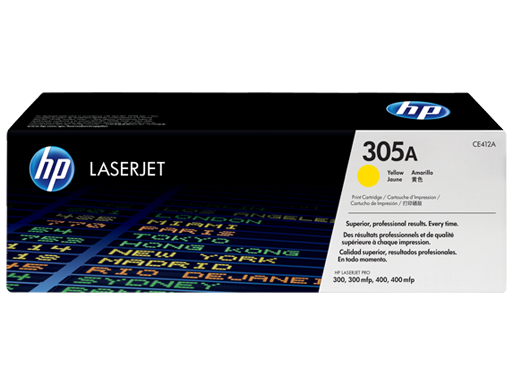 HP CE412A 305A Yellow LaserJet Toner Cartridge - 2600 pages