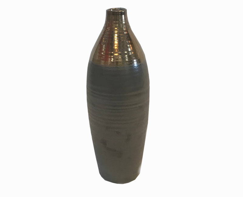 "Calin Large Matte Brown, Shimmer Bronze 17"" Vase"
