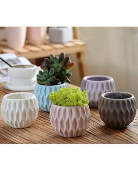 Shana's 2 Inch Modern Geometric Design Cement Mini Flower Pots/Candle Holders Pack of 3 By: Shana
