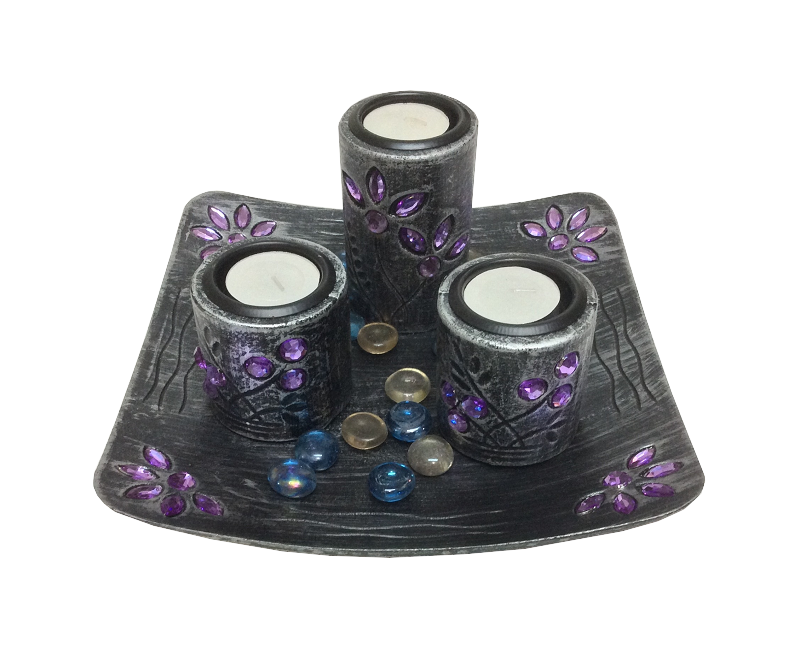 Carved Wooden Candle Holder with Stones