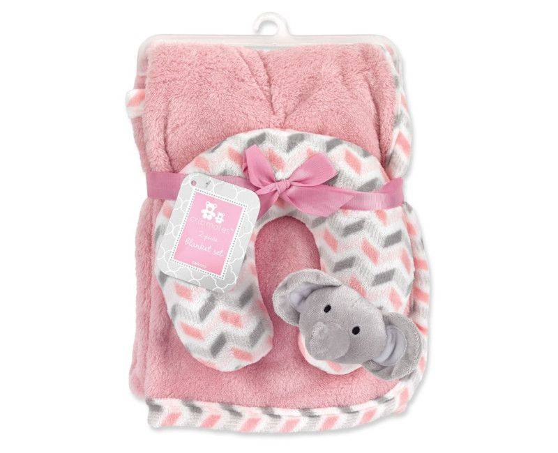 Cribmates Chevron Elephant Plush Blanket with Neck Pillow