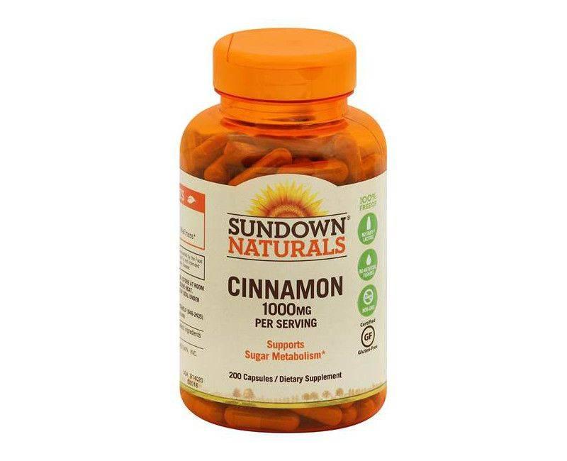 Sundown Naturals Cinnamon 1000mg 200 Capsules For Sugar Metabolism