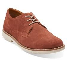 Clarks Raspin Plan Red Suede Mens Oxford Shoes -8.5