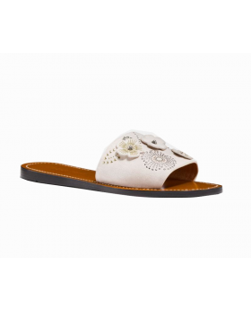 Coach Slide With Tea Rose Rivets Slippers Size: 9.5B