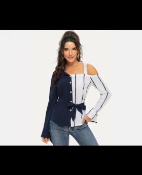 Cold Shoulder Spliced Striped Belted Blouse Size Medium