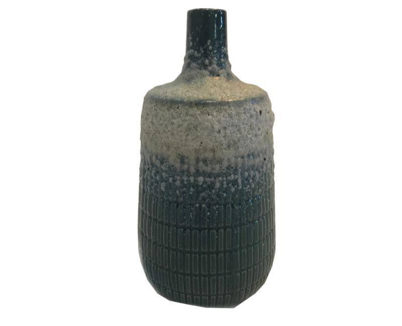 Decorative Ceramic Dark Green Textured Body Vase - Medium