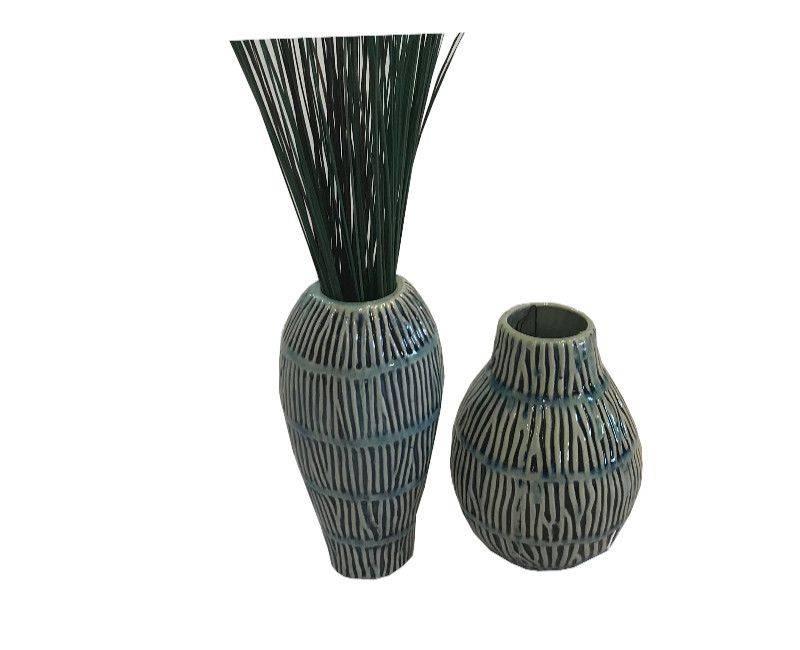 Decorative Ceramic Vase in Blue Shades