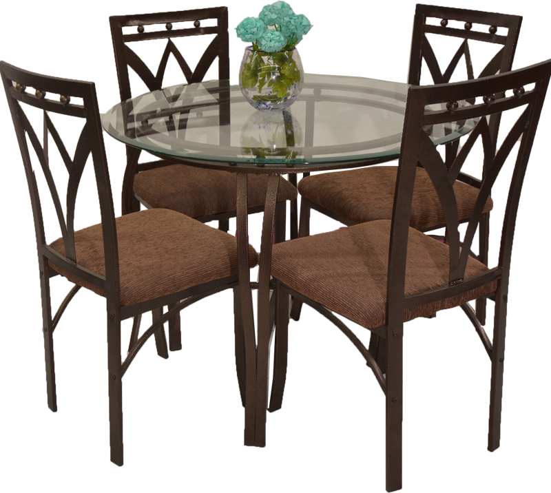 5 Piece Round Glass Top With Brushed Bronze Metal Dining Table Set