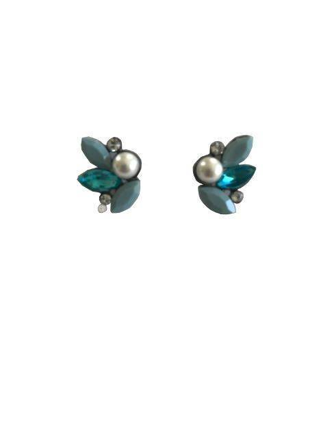 Attitude Hay Button Blue Opaque and Clear Leaves With Pearl Center Stud Earrings