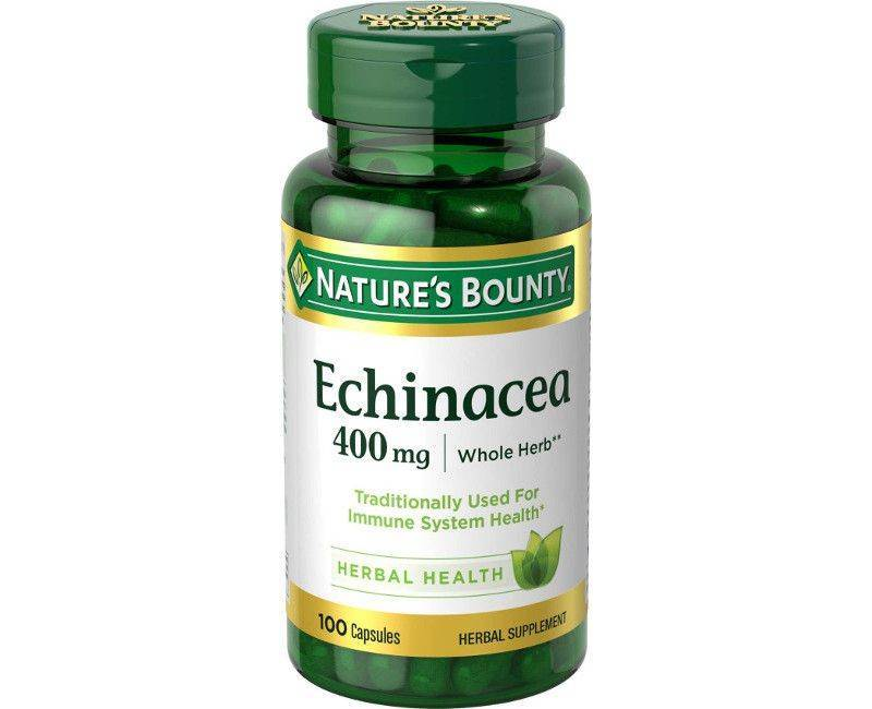 Nature's Bounty Whole Herb Echinacea 400mg - For Immune System - 100 Capsules