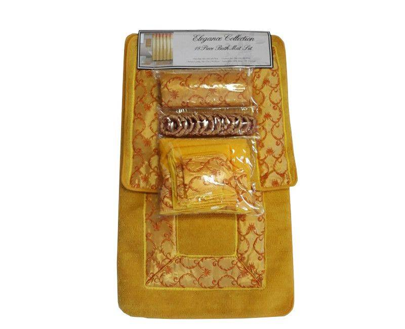 Elegance Collection 18 Piece Bath Mat Set Yellow