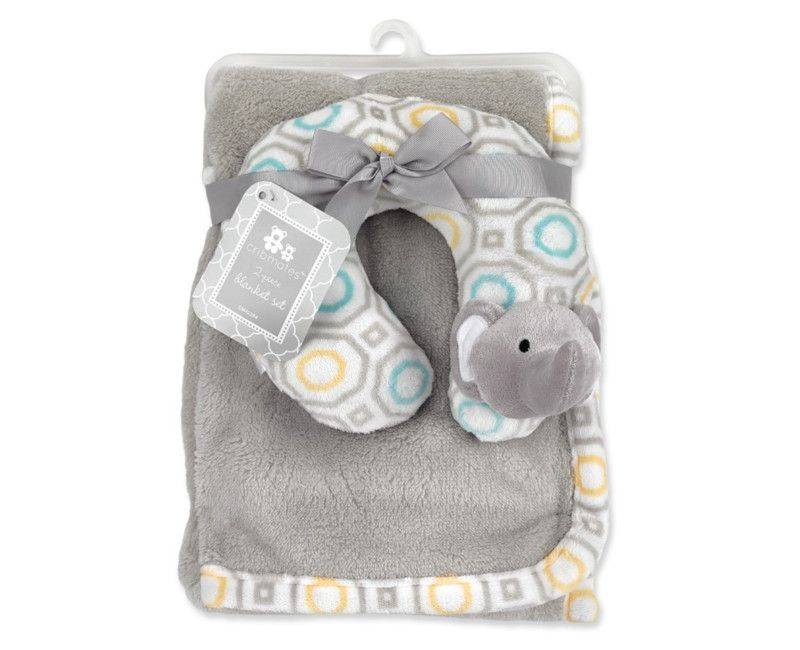 Elephant Baby Plush Blanket w' Neck Pillow