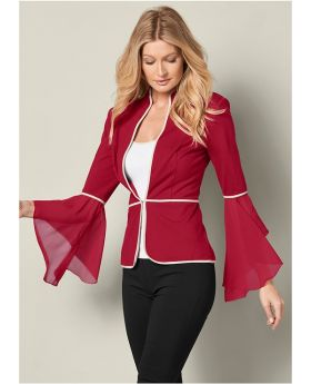 SLEEVE DETAIL JACKET--- RED SIZE 8