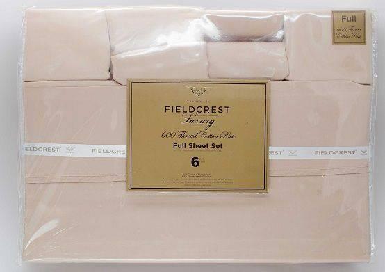 Fieldcrest 600 Thread Count Full 6 Piece Sheet Set-Tan