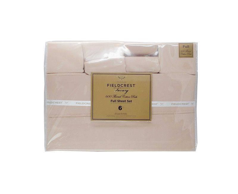 Fieldcrest 600 Thread Count Full 6 Piece Sheet Set Burgundy