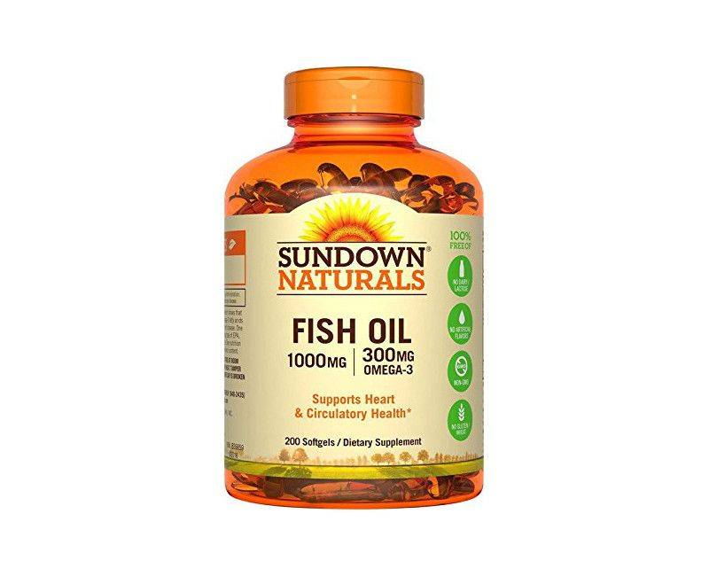 Sundown Naturals Fish Oil 1000MG With 300MG Omega-3 200 Soft Gels Dietary Supplement
