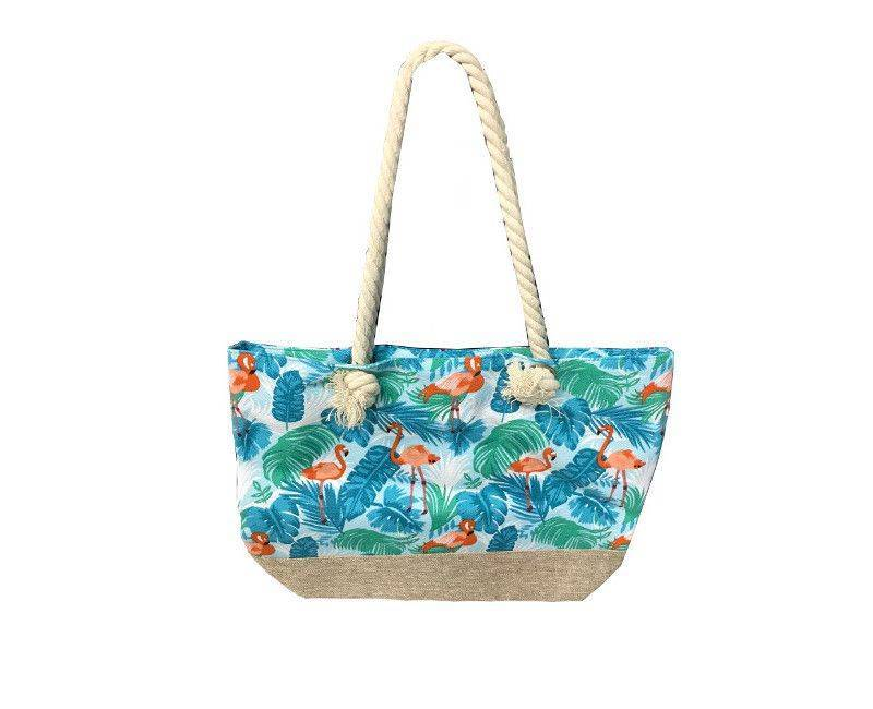 Flamingo canvas straw tote with rope handles