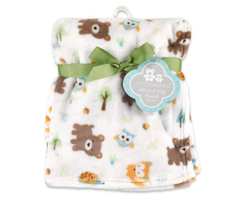 Cribmates Forest Friends Print Plush Baby Blanket