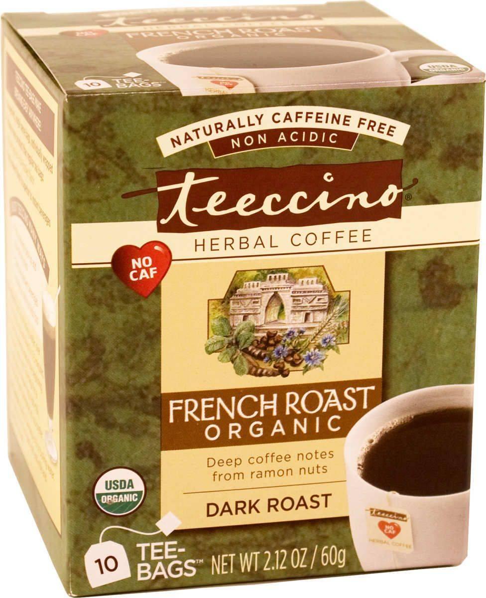 Teeccino Caffeine-Free Organic Herbal Coffee Alternative-French Roast Tee Bags-10 servings