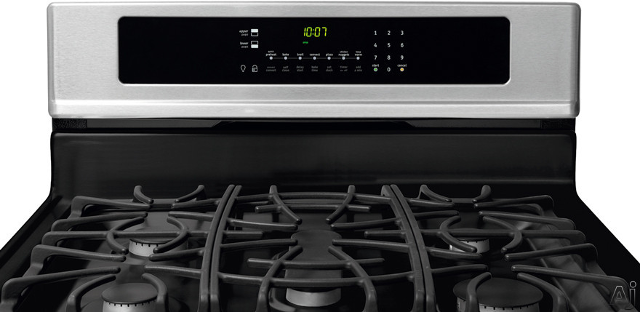 Frigidaire 30 Inch Gas Stove FGGF304DLF close up of burners