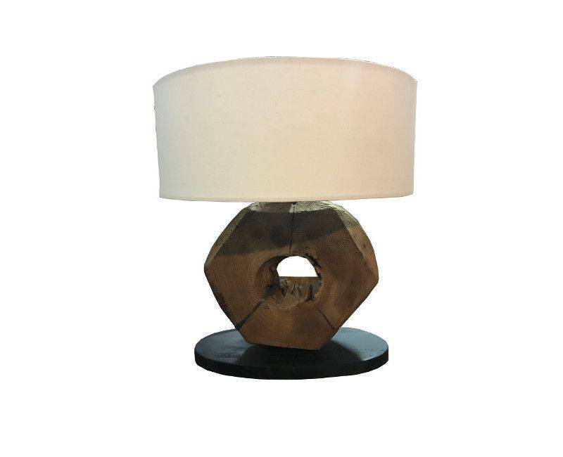 Wooden Genta Black Base Cream Shade Table Lamp