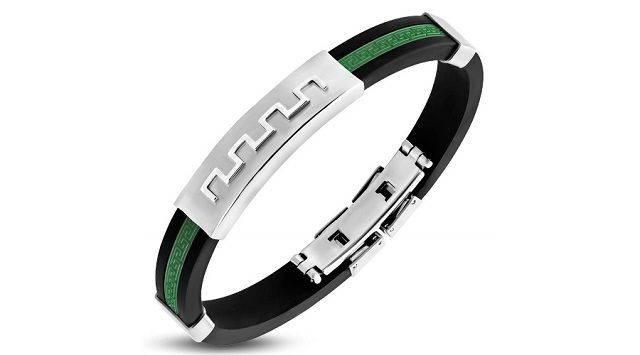 Greek Key Green Bracelet