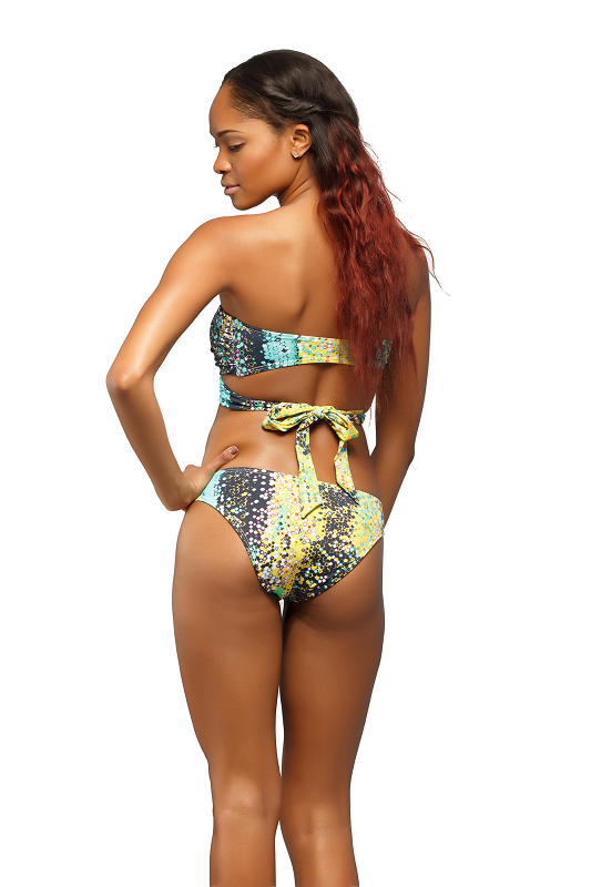 Rear view of the Green & Yellow Trickini Bathing Suit