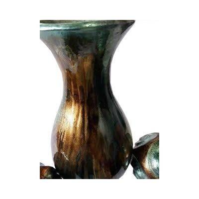 Green & Brown Accent Ceramic Vase Close up