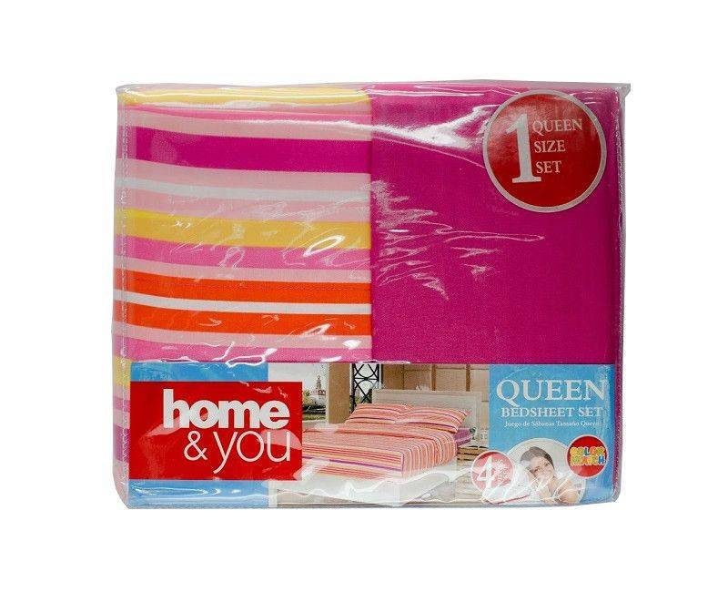 Home and You Pink Striped Queen Size 4 Piece Bed Sheet Set