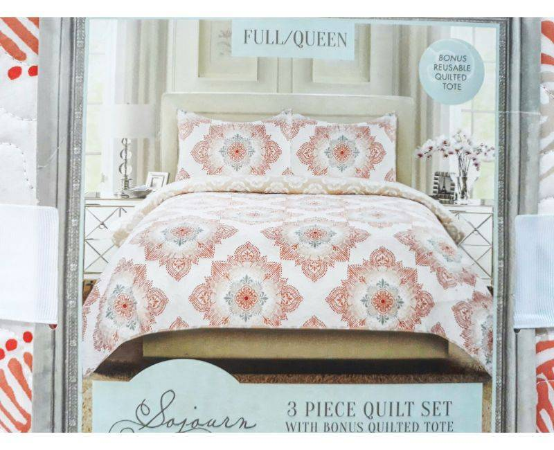Sojourn Living 3pc Full/Queen Quilt Set with Bonus Quilted Tote - Coral