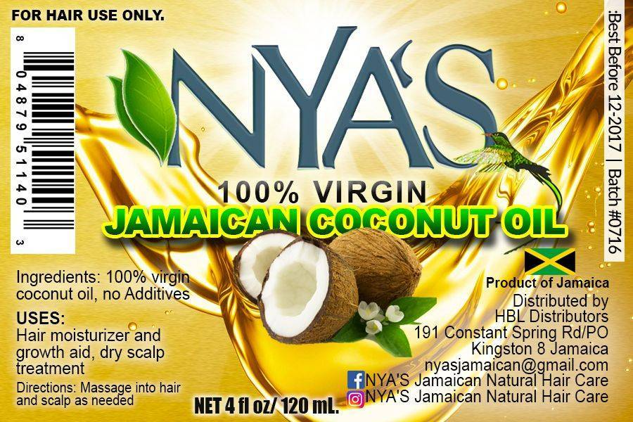 Nya's Virgin Jamaican Coconut Oil 4 oz Label