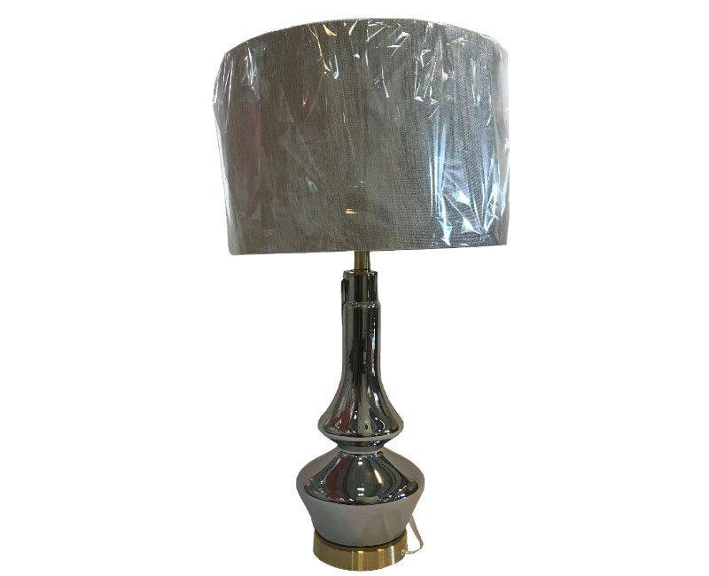 Lamp - Twisted Metal in Chrome With Grey Shade Table Lamp