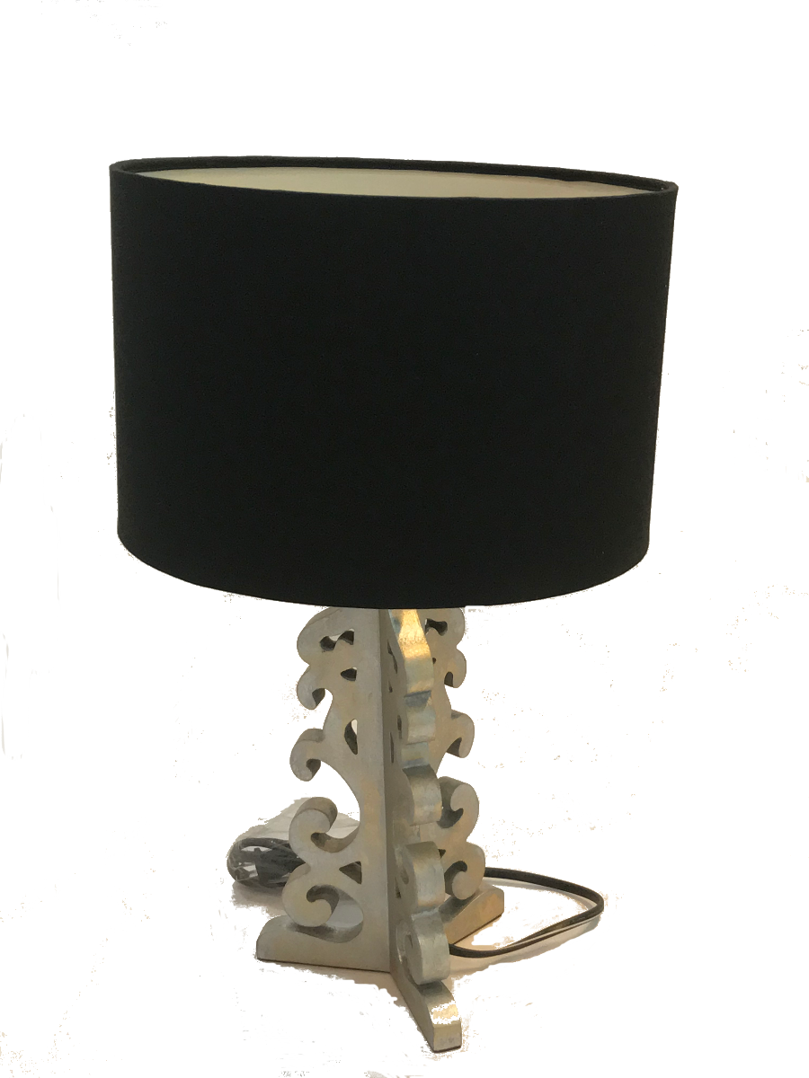 Wooden Silver Table Lamp with Black Shade