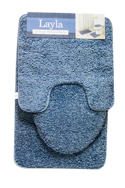 Layla 3 Piece Shaggy Bathroom Rug Set
