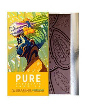 PURE 70% Dark Chocolate with Lemongrass 1.76 oz/50 Grams Each