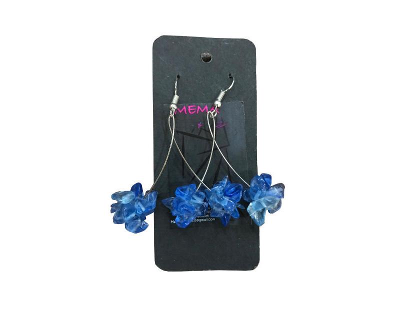 Mema Designed Lyli Chip Blue Clustered Beaded Drop Dangly Fashion Earrings