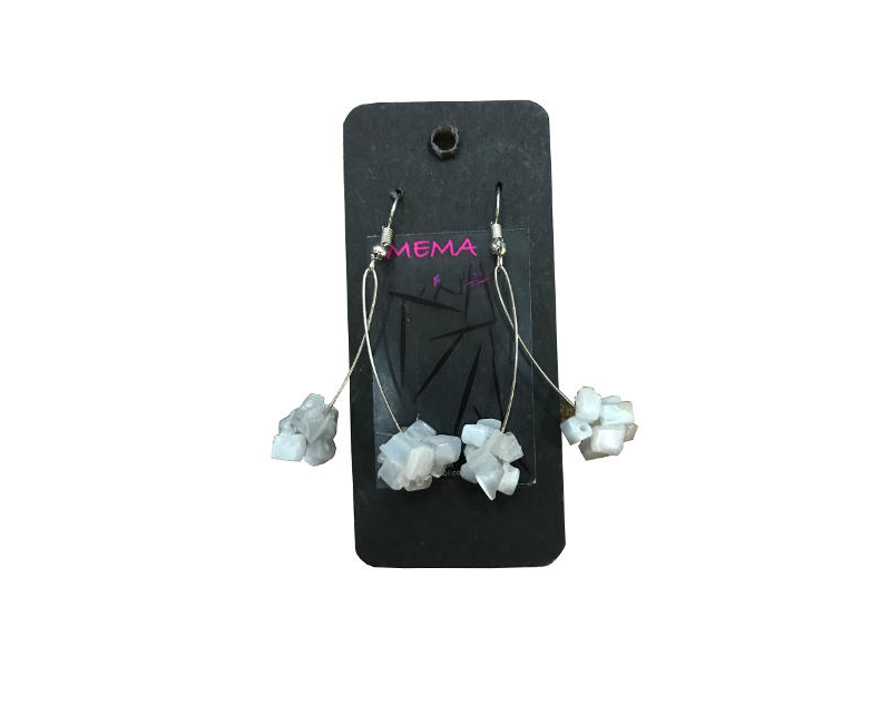 Mema Designed Lyli Chip White Clustered Beaded Drop Dangly Fashion Earrings