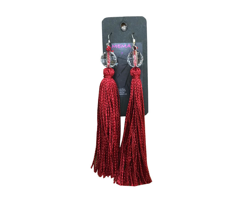 Mema Designed Women's Burgundy Thread Tassel Bohemian Statement Drop Earrings
