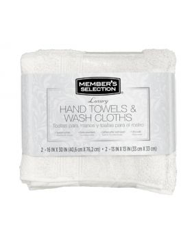 Member's Selection Hand Towels and Wash Cloths in White 4 Pack Set