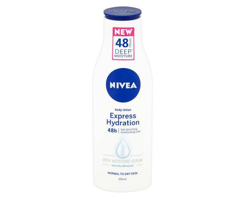 Nivea Express hydration deep moisture for fast absorption in just 1 use. For Normal to Dry skin in a 250ml formula
